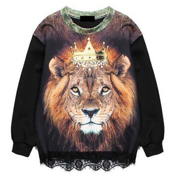 Realistic Lion Graphic Print Long Sleeve Pullover Sweater with Lace Detail in Black