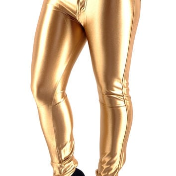 BadAssLeggings Women's Shiny Disco Pants Medium Gold