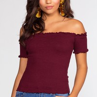 Jett Off The Shoulder Top - Burgundy