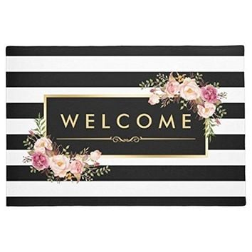 Welcome White & Black Stripes, Beautiful Floral Indoor/ Outdoor Doormat