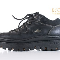 Platform Skechers Jammers Black Leather Lace Up Lug Sole 90's Vintage Shoes Women's Size US7.5-8 9.5