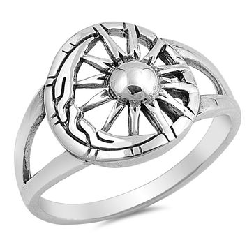 Sterling Silver Women's Ring Moon and Sun 15MM