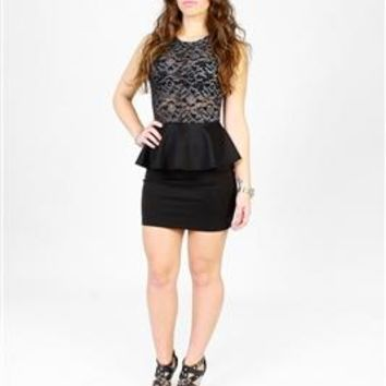 Mizzrahi Laced Peplum Dress