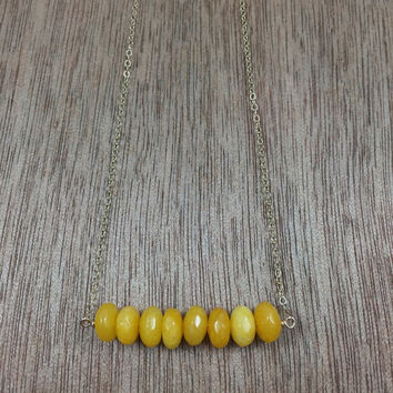 14k gold filled yellow jade beaded necklace / bridesmaid necklace / dainty necklace / minimalist necklace / November birthstone necklace