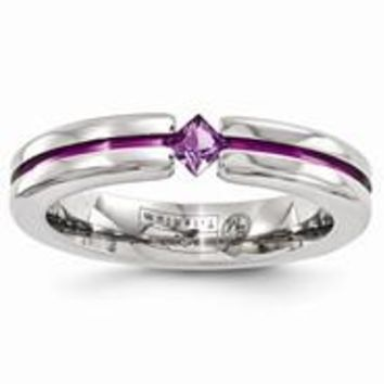 Titanium Satin Amethyst & Purple Anodized 4mm Wedding Band Ring