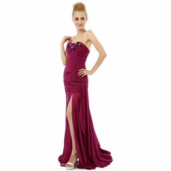 Mermaid Side Open Chiffon Applique Long Special Occasion Gown Dresses