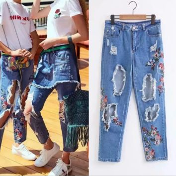Ripped jeans embroidered with high-waisted flowers for women's summer