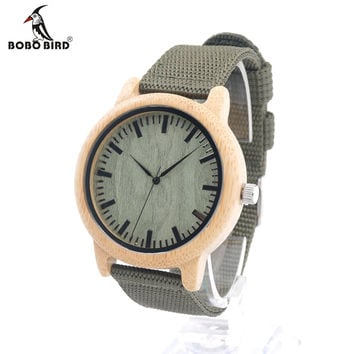 Mens Natural Wood Bamboo Watches Womens Vintage Wooden Watch With Army Green Canvas Band