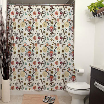 Wired Flower, Small Print Pattern Shower Curtain