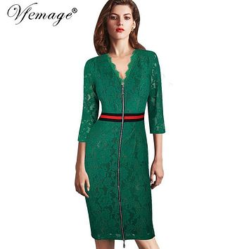 Vfemage Women Sexy Elegant V-neck Floral Delicate Lace Slim Tunic High Waist Casual Party Evening Sheath Bodycon Dress 4359