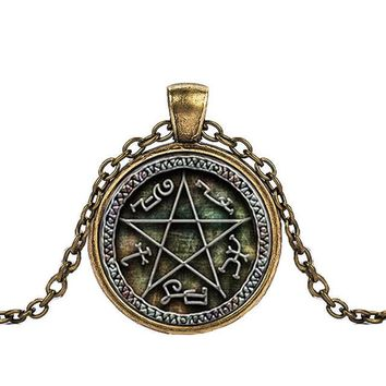 Caxybb Hot supernatural necklace saving people hunting things family business Dean winchester sam crystal glass dome necklace