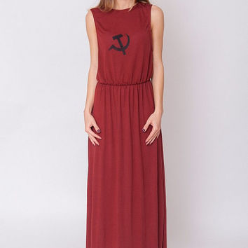 New Maroon Dress -  Hammer and Sickle Print Red Scoop Indie Jersey Stretchy Slouchy Hipster Sleeveless Grunge Evening Long Gown Size S M L
