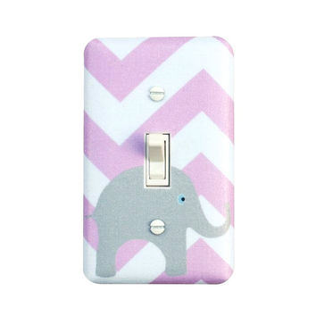 Chevron Elephant Nursery Decor /  Light Switch Plate Cover / Girls Lilac Lavendar Purple White / Slightly Smitten Kitten