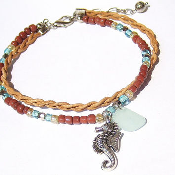 Seahorse Beach Anklet Beach Jewelry Leather Anklet Leather Jewelry Beach Glass Jewelry Adjustable Anklet for Woman Boho Anklet Boho Jewelry