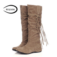 size 34-43 New fashion women boots Pleated Suede slip-on flat boots Height Increasing knee high boots women 2016