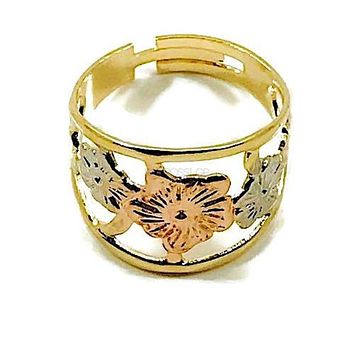 Adjustable Size Flower 18KTS OF GOLD PLATED RING