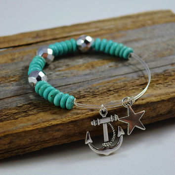 Turquoise bangle bracelet, Alex and Ani inspired jewelry, Anchor bracelet, nautical inspired bangle, Turquoise beaded bracelet, memory wire