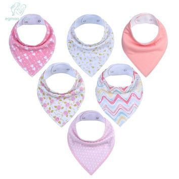 6Pcs Baby Bandana Drool Bibs Super Absorbent 100% Organic Cotton Perfect Baby Shower Gift Se for Drooling Teething and Feeding