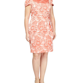 Rose-Jacquard Cap-Sleeve Dress, Coral, Women's, Size: