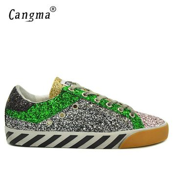 CANGMA Fashion Superstar Sequined Shoes Men Sneakers Multicolor Glitter Vintage Flats Luxury Zebra Pattern Lace-up Shoes Male