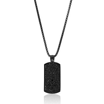 Men's Black Dog Tag Necklace