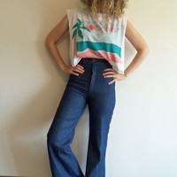 True Vintage 60s 70s Boho Hippie Indie Super High Waisted Bell Bottoms Denim Jeans