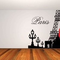 Paris & Eiffel Tower Vinyl Wall Decal Sticker Mural By LKS Trading Post