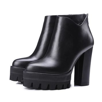 2017 genuine leather platform increased thick extreme high heel women ankle boots soli