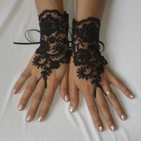 Black gothic lace glove Halloween gift steampunk tribal fusion noir bellydance