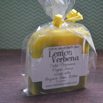 Lemon Verbena Soap *Large Gourmet Bath Bar* Handmade, Vegan, Cold-Processed Soap made with Essential Oils & Organic Shea Butter, 5 ounces