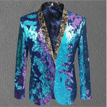 colorful sequins jacket coat blazer male gold green costumes prom wedding groom fashion outfit purple singer black party stage