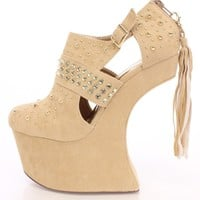 Nude Rhinestone Studded Anti-Gravity Wedges Faux Suede