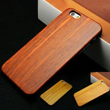 "High Quality Hard Protector Cover Genuine Rosewood carbonized bamboo Cherry Wood Wooden Phone Case For iPhone 6 4.7"" 6 Plus 5.5"""