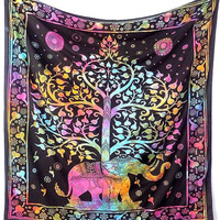Tie Dye Cotton Fabric Tapestry Wall Hanging Elephant Bedspread Bohemian Bedding Throw Home Decor - FabricSarmaya
