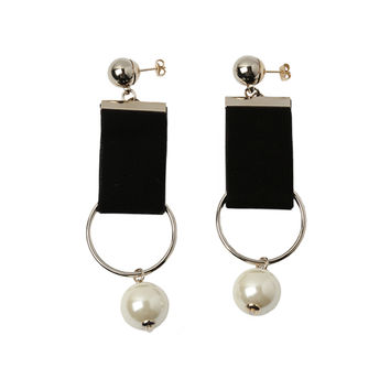 Faux Pearl Accent Fabric Drop Earrings