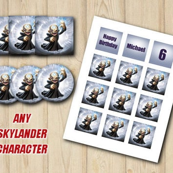 SKYLANDERS CUPCAKE TOPPERS / Favor Tags / Stickers, party supplies, Trap Team birthday, Skylanders party, Kaos, custom skylanders supplies