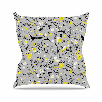 "Laura Nicholson ""Blackbirds On Gray"" Gray Yellow Throw Pillow"