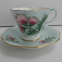 Foley Bone China Cup Saucer Set in Vintage Blue Glenngarry Thistle