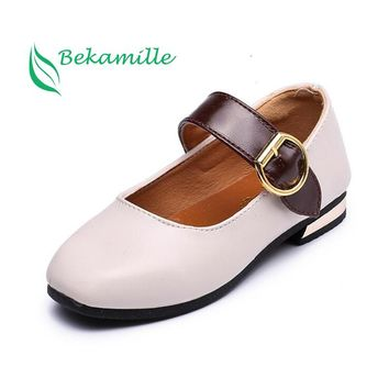 Kids leather shoes fashion girls baby princess British style low heel shoes Autumn New Children girls Wedding shoes