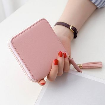 NEW 2017 Coin Purses Holders Wallet Female Leather Tassel Pendant Money Wallets Hot Fashion Wine Red Clutch Bag