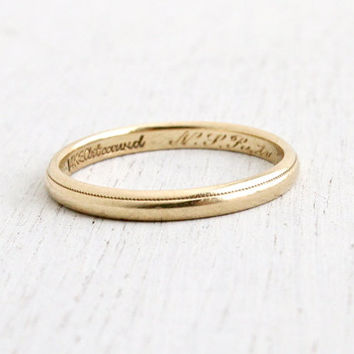 Vintage 14k Yellow Gold Wedding Band Ring From Maejean Vintage