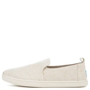 Toms Women's Deconstructed Alpargata Natural Metallic Linen Flat