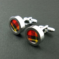 Mens red plaid cuff links - 2nd cotton anniversary gift – groom or groomsmen tartan wedding cufflinks present – mans accessories