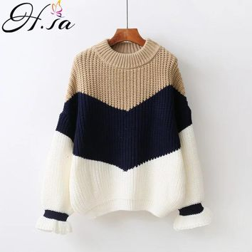 H.SA Winter Pull Sweaters Women Fashion Loose Jumpers Korean Pullovers Knitting Pullovers Thick Christmas Sweater Unif