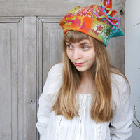 Unique fancy felted hat with tip and little dreadlocks, colorful, with pieces decorative silk fabric and wool curls , OOAK