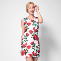 Rose Print Slim Tank Dress 11109