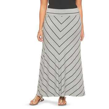 20113 Ava & Viv Plus Size Chevron Striped Knit Maxi Skirt Size 2X