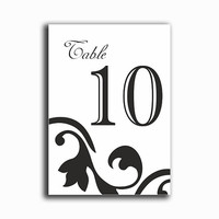 Printable Table Numbers DIY Instant Download Elegant Wedding Table Numbers Black Table Numbers Printable Table Cards (Set 1-20)