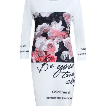Streetstyle  Casual Delightful Round Neck Floral Letters Printed Bodycon Dress
