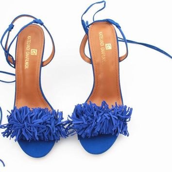 Tassel Pom Pom Sandals - Blue